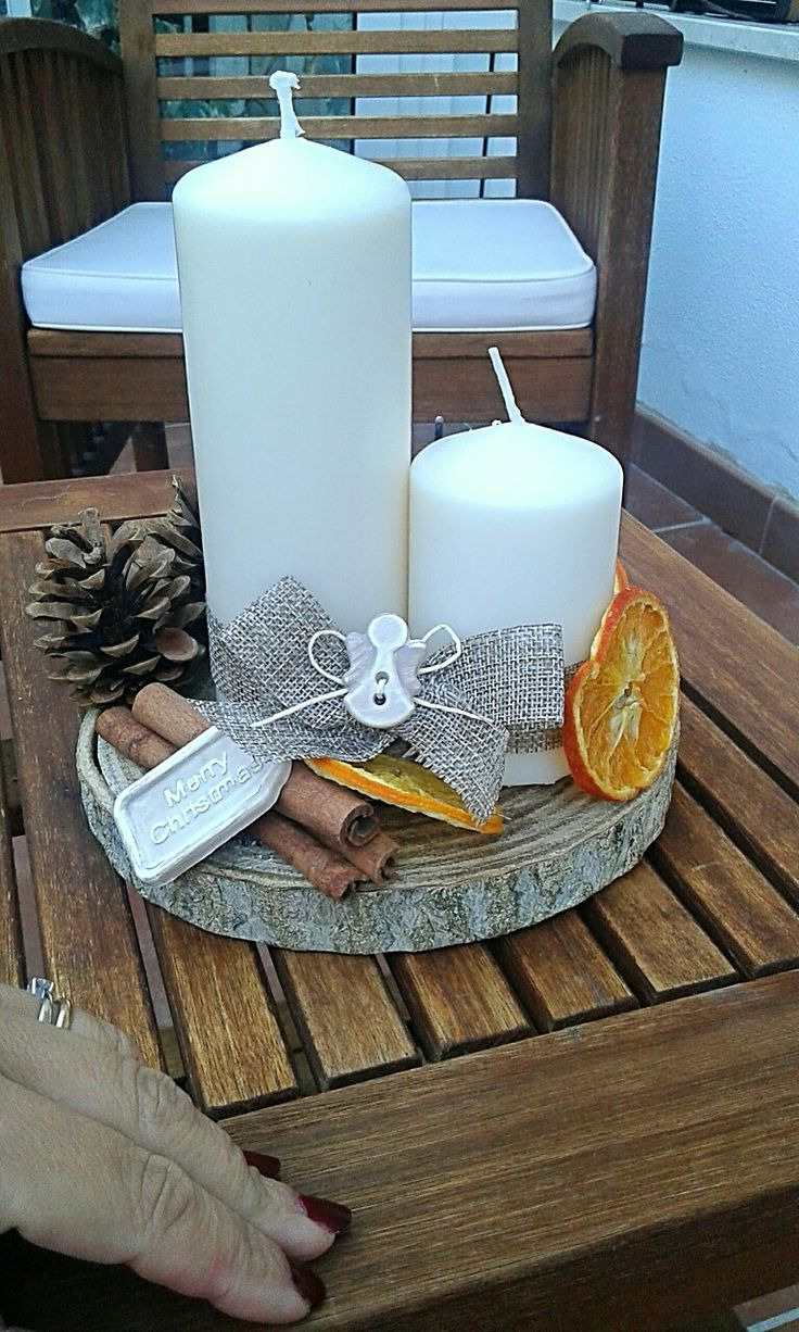❤fatto da me❤ #centrotavola #Natale #candele #cannella #arancia #homedecor