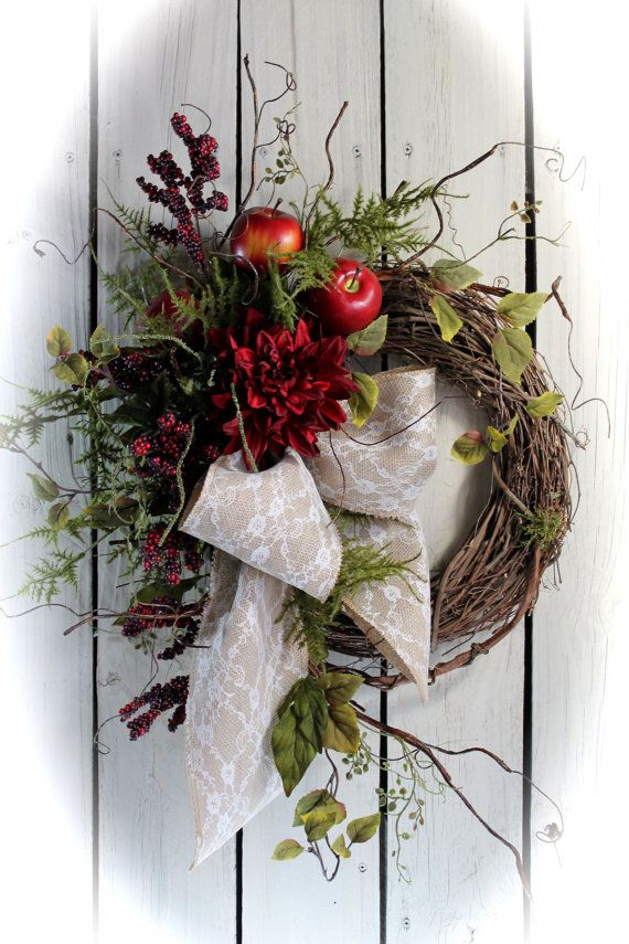 ON SALE Red Apple Wreath Front Door Wreath Fall by FloralsFromHome, $78.40