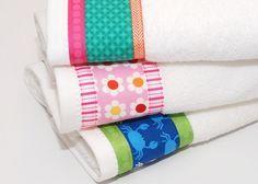 Neue Handtücher für die ganze Familie nähen . Upcycling mit Stoffresten und Webband