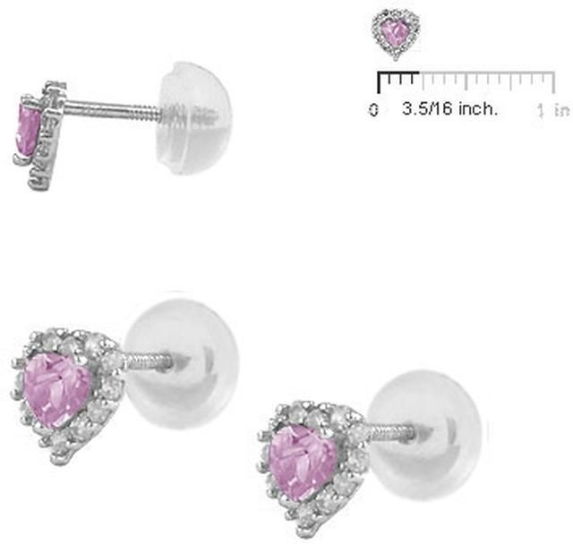 Ice Silver Heart Silicone Back Stud Earrings for Baby