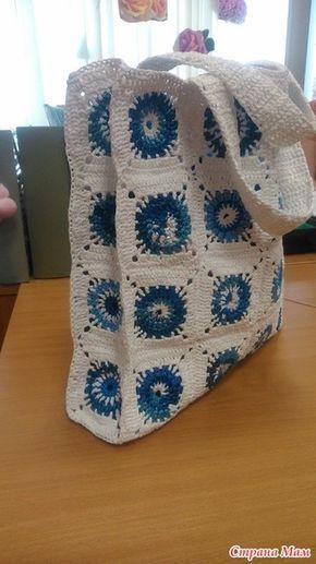 """Опять связала сумку из пакетов """"майка"""". синие отдельно не покупала, запаслась заранее, а белые с трудом нашла, пошло 90 штук. вязала крючком № 2, полоски нарезала шириной около одного см."""