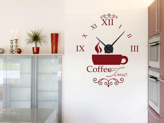 #Wandtattoo Uhr mit #Uhrwerk #Wanduhr Küche #Coffee Time Kaffee Tasse Ornament