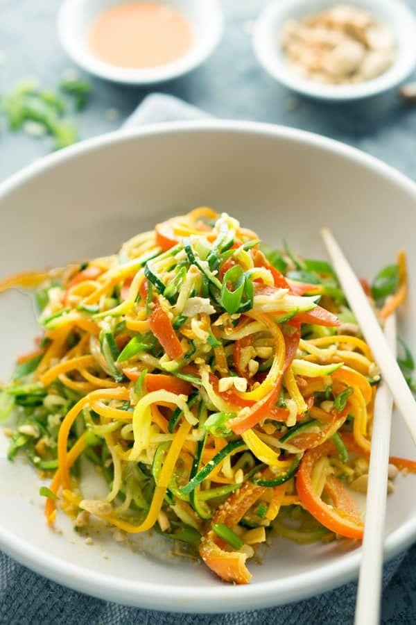 Thai Peanut Zucchini Noodles Recipe Zoodles Recipe Whole Food Recipes Zucchini Noodle Recipes Zoodle Recipes