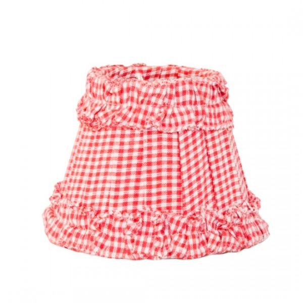 HKliving Nostalgischer kleiner Lampenschirm mit Rüschen Rot/Weiß kariert
