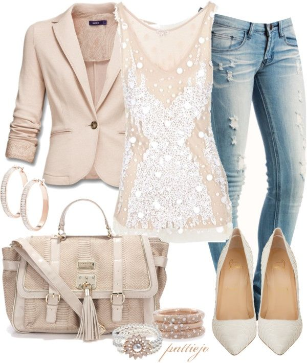 Nude blazer, white sequined tank, flattering jeans, rose gold & diamond accessories