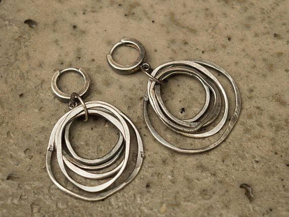 Hoop earrings-Circle earrings-Boho sterling silver