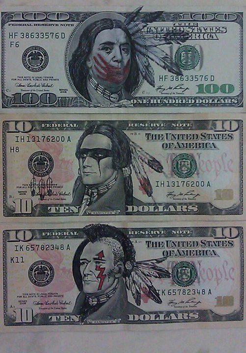 """""""For those that don't know andrew jackson's views on Indigenous people, I encourage you to read up on it. Start with the Indian Removal Act. I'm NOT putting a head dress on him, I'm just trying to make it look like it's a Native, gave him brown skin etc. done with India ink and colored pencils – Steven Paul Judd"""""""