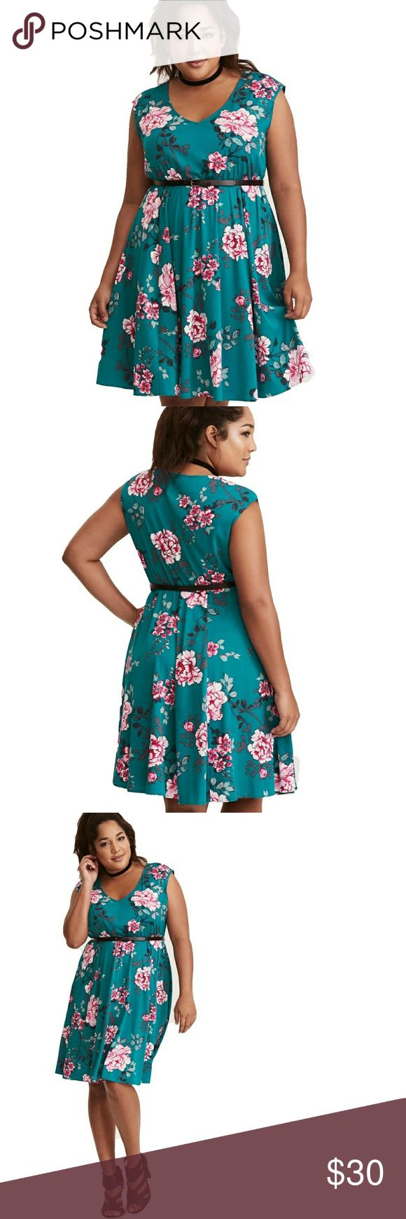 """Torrid Turquoise Floral Print Challis Skater Dress For when you want an """"I feel pretty"""" moment, slip into this dress. The fabric is lightweight and silky, the stretch waistband is forgiving, and the removable belt adds an element of dressed-up sophistication.  Challis fabric V-neck Short sleeves Stretch waist  Brand new with tags and belt! Torrid size 2. torrid Dresses"""
