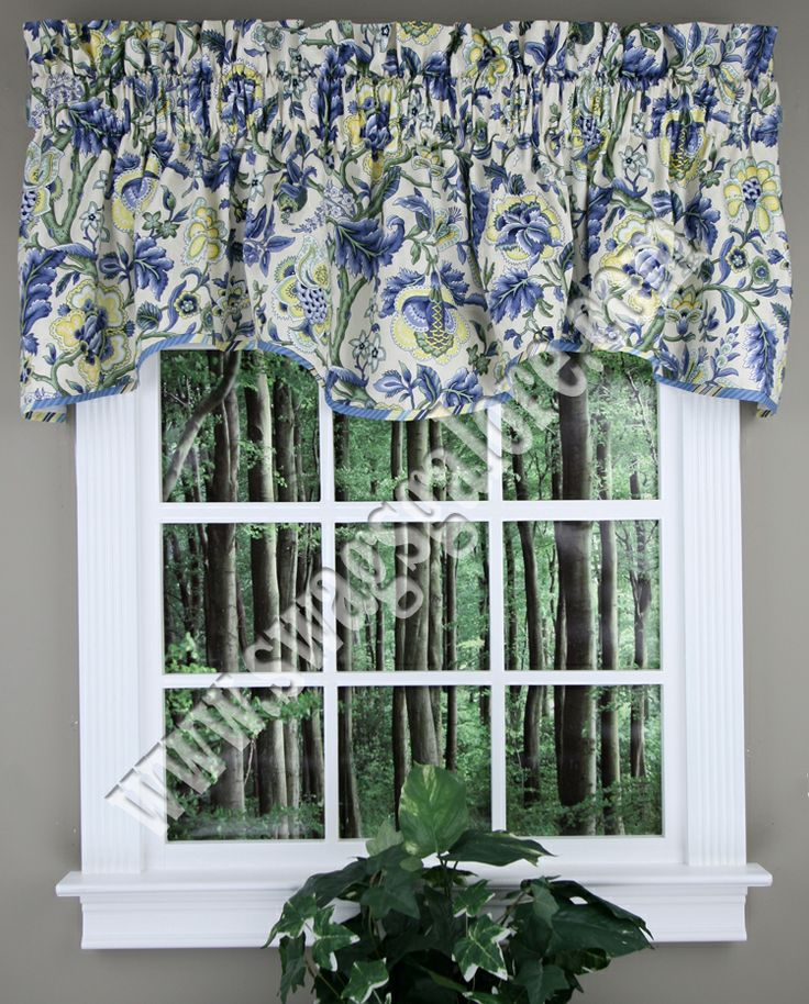 Imperial Dress Valance by Waverly. Jacobean pattern of blue, greens & yellows on a neutral background, fabric is 100% Cotton.  #Waverly #Valances