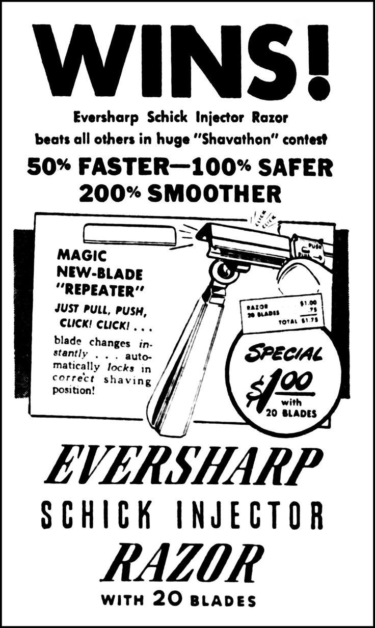 https://flic.kr/p/239mMVm | Advertising For The Eversharp Schick Injector Safety Razor In The Winnipeg Canada Tribune Newspaper, August 12, 1946