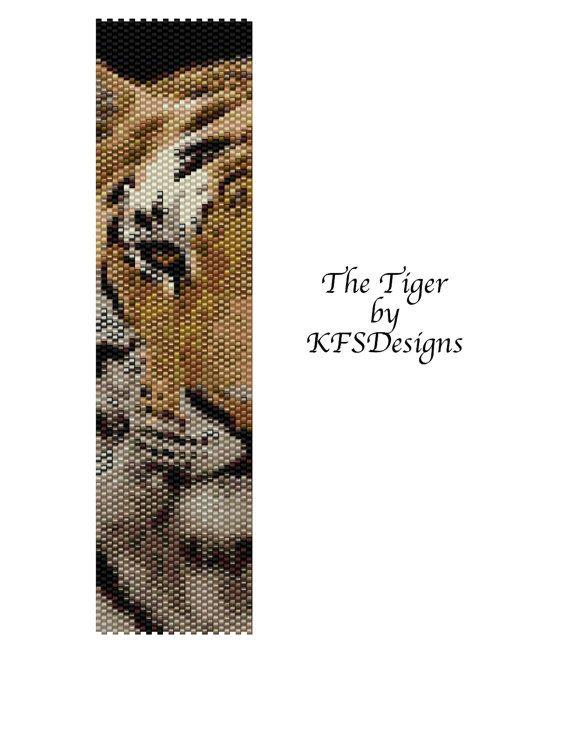 The Tiger  Peyote Stitch Cuff Bracelet Pattern Buy 2 by KFSDesigns, $6.50