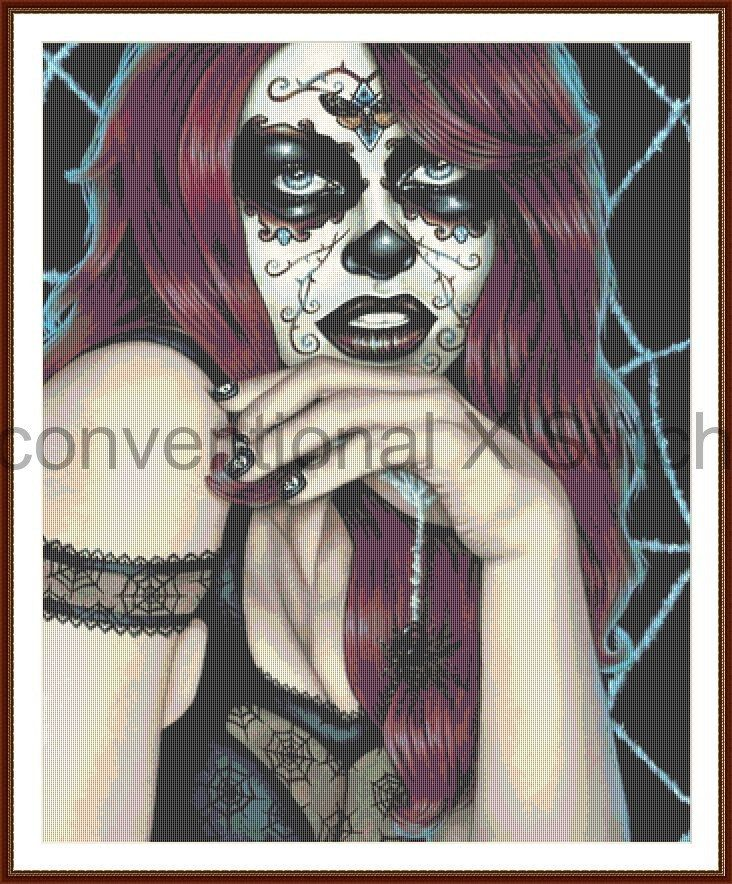 Day of the dead sugar skull cross stitch pattern - Frost spider theme by UnconventionalX on Etsy