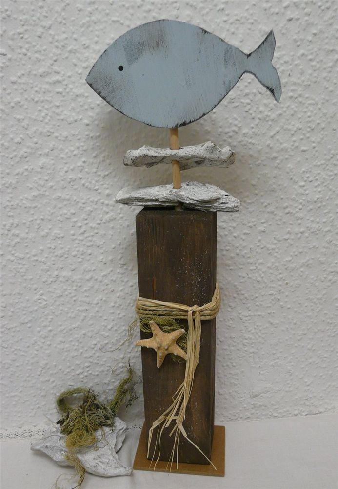 Großer Deko Holz Pfosten mit Fisch und Treibholz liebevoll dekoriert Handarbeit in Möbel & Wohnen, Dekoration, Sonstige | eBay