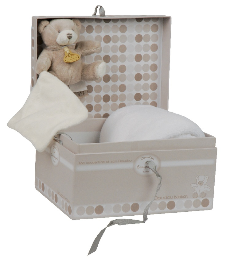 Doudou et Compagnie Neutral Bonbon Bear & Blanket Gift Box
