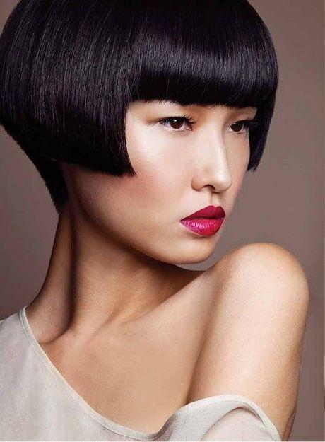 Sleek short cut with full fringe