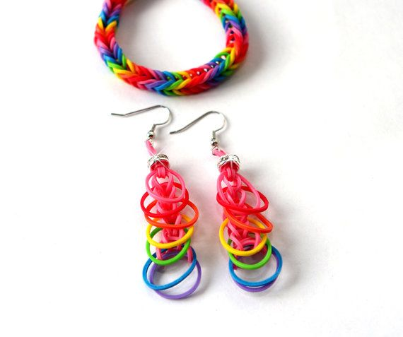 Rainbow Loom Bracelet and matching earrings with bling bead,rubber band jewelry New Trendy fashion jewelry