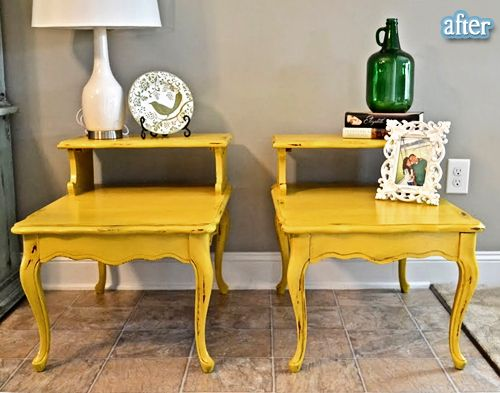 Painted end tables...love this color, love painted furniture.
