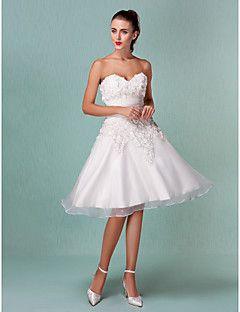 Lanting+A-line/Princess+Plus+Sizes+Wedding+Dress+-+Ivory+Kne...+–+USD+$+79.99