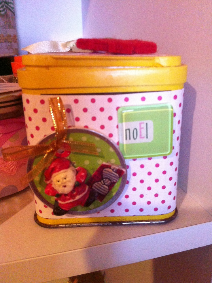 Craft recycled container: I try and make use of what I can recycle to store my craft items.  This container is a little mustard container that I use to put my Christmas buttons in.  Inexpensive and pretty. It'll inspire you when you have pretty containers to store items in.