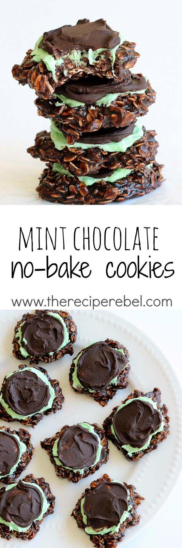 Fudgy Mint Chocolate No-Bake Cookies: Classic chocolate no-bake cookies topped with mint frosting and chocolate ganache -- a twist on my favorite no-bake mint chocolate bars! Perfect for Christmas or (Chocolate No Bake Cheesecake)