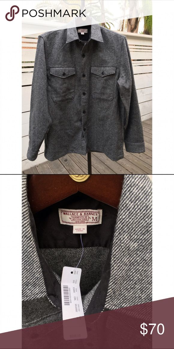 Wallace & Barnes | Charcoal Shirt Jacket | sz M NWT double lined, herringbone, shirt/jacket from J. Crew's Wallace & Barnes collection. Blend of wool and cotton gives it enough weight to be worn as a layering piece. J. Crew Jackets & Coats Lightweight & Shirt Jackets