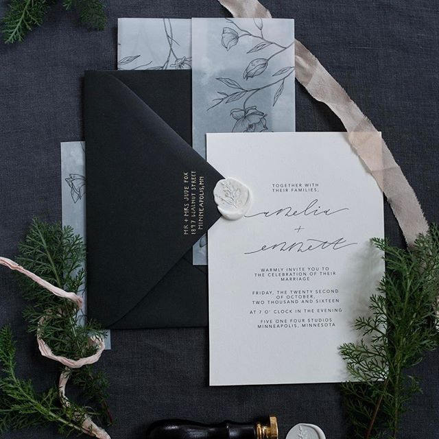 Ideas and inspiration for printed wedding stationery. Love the transparent stock, botanical drawings and wax stamp sealed envelope. Steeped in tradition. For the classic bride.