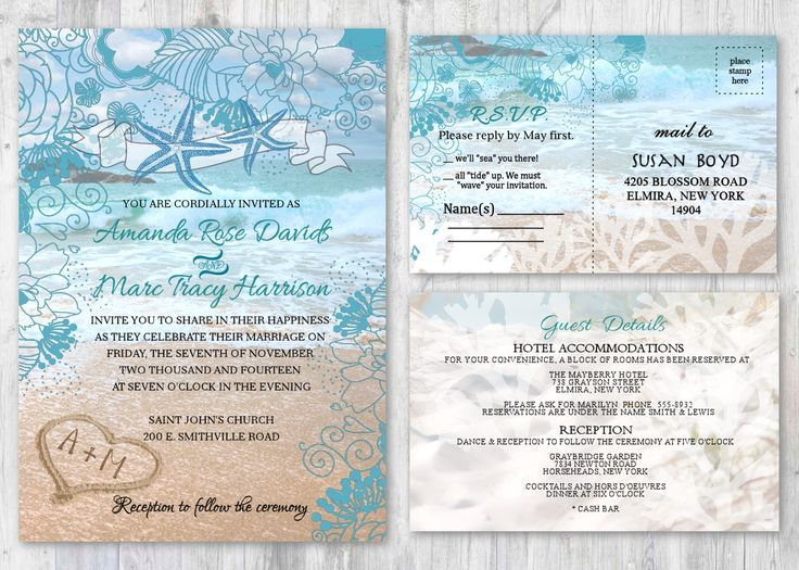 Beach Wedding Invitations, Starfish Wedding Invitation, Beach Theme Ocean  Themed Invitation, Wedding Beach