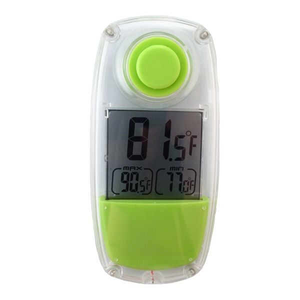 Thermometer powered by light. It can be used both indoors and outdoors to monitor the temperature, as well as displays the high and low of the day. The built-in solar panel powers this thermometer by using energy from the sun or ambient light. The suction cup can be switched from front to back (or back to front) to suit your situation. Like this model? Also check out our indoor solar thermometer!