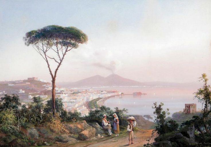 gioacchino la pira (italian, 1839-1870) - 'the bay of naples', gouache on paper.