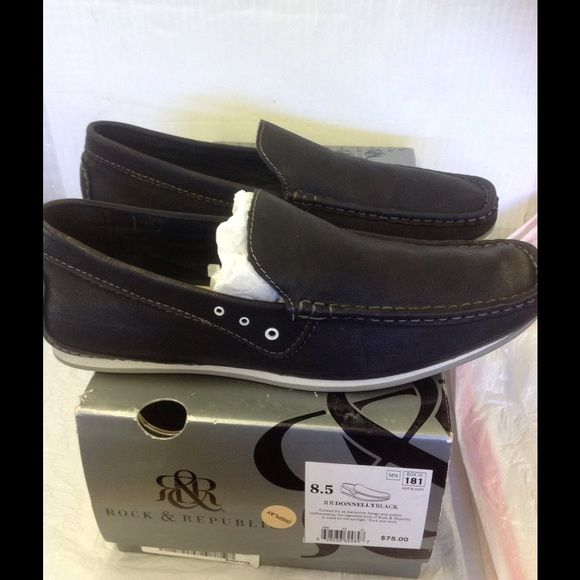 Rock & Republic men's slip on loafers black in box Brand new never used. Size 8.5 men's Rock & Republic Shoes