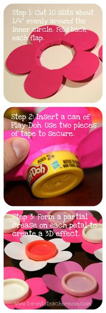 How to make a flower Valentine with a Play-Doh centre.