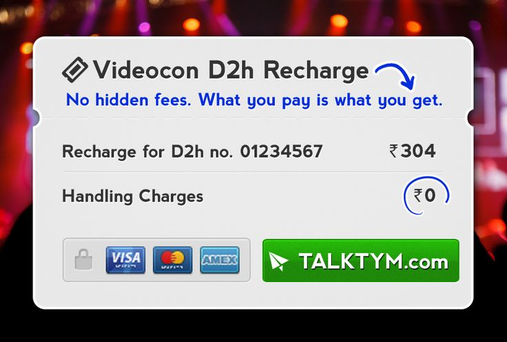 Videocon D2H Recharge Online - Talktym.com offers you full benefits for your Videocon D2H & DTH Online Recharge. You earn Talktym Bonus Points for every transaction that you can use to pay for your recharges. If the recharge is not successful, you get instant refund and can be used again to recharge. This makes your experience awesome.  For more information please visit, https://www.talktym.com/videocon-d2h-online-dth-recharge.php