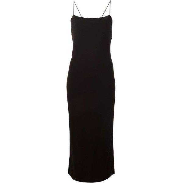 T By Alexander Wang Long Slip Dress ($703) ❤ liked on Polyvore featuring dresses, black, form fitting dresses, long day dresses, black square neck dress, square neckline dress and black spaghetti strap dress