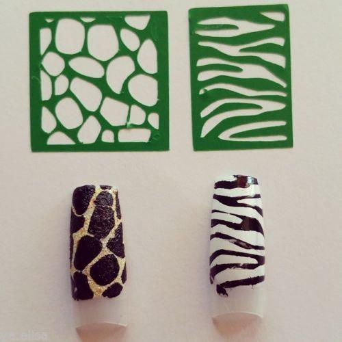 Stencil-decals-vinyl-nail-art-decorazioni-unghie-giraffa-zebra-animalier-adesivi