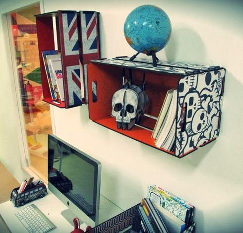 PRATELEIRA DE LIVROS: Quer dicas? Como montar uma prateleira de livros com caixote de feira? Sem custos algum Veja no post modelos incríveis e escolha o seu!