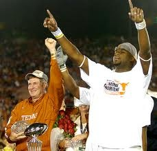 Vince Young celebrates after winning the 2006 Rose Bowl and MVP Award.