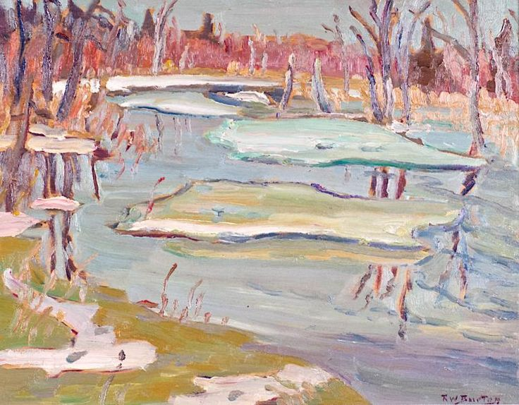 Ralph Wallace Burton - Ice on Creek Near Burritts Rapids Ontario 10.5 x 13.5 Oil on panel