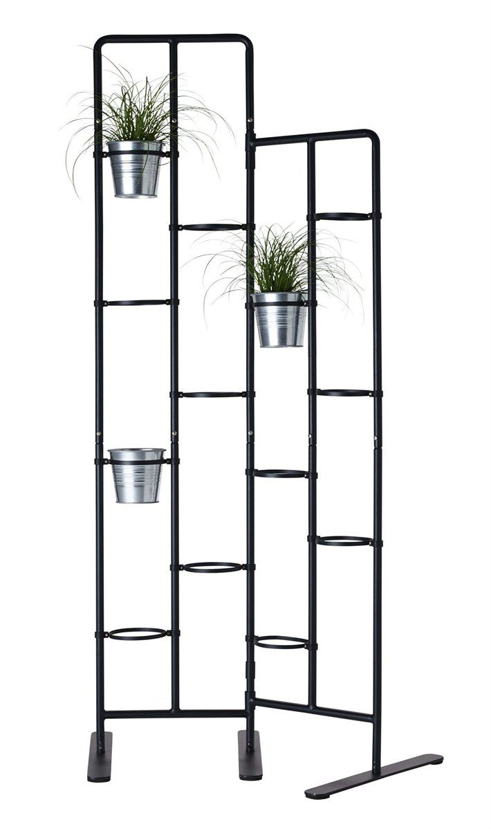 "SOCKER plant stand $29.99 For indoor or outdoor use. Powder-coated steel. Requires assembly. W28 3/4xH63 3/4"". Gray 702.555.16"