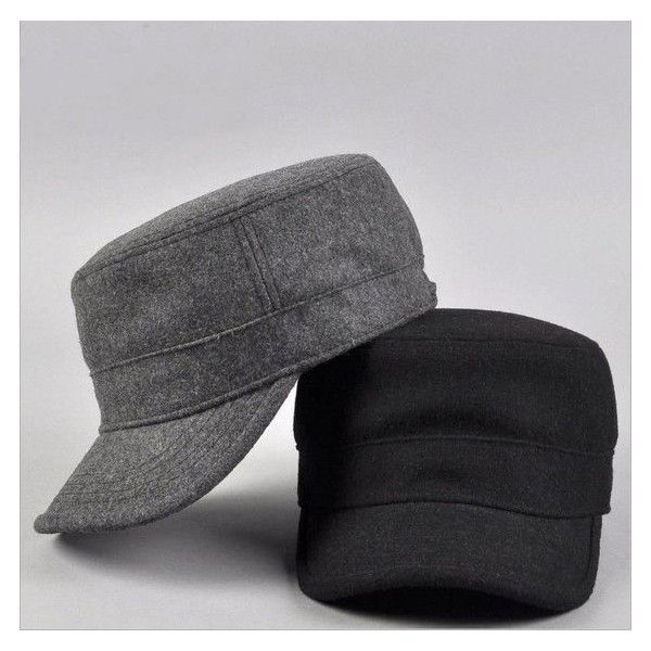 Men Women Winter Military Hat Cap Fashion Army Style Cadet Hats Caps... ❤ liked on Polyvore featuring men's fashion, men's accessories, men's hats, mens caps, mens military caps, mens caps and hats and mens hats