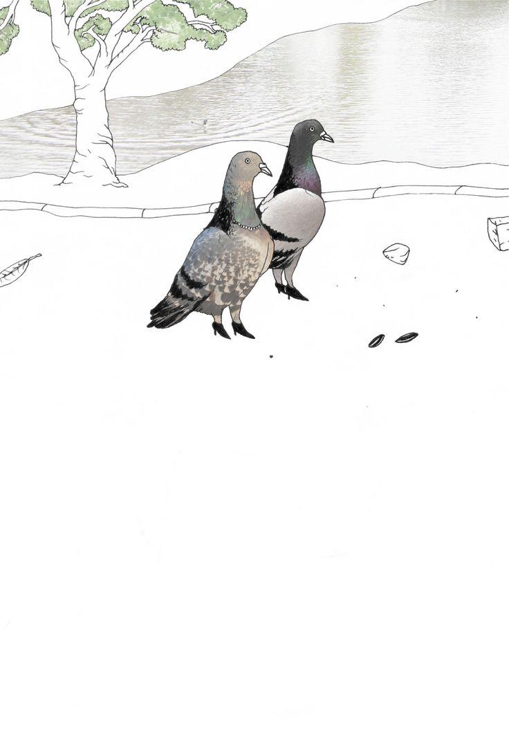"""dandering doves"" Stanislaus Medan, 2015  #animals #park #grafic #children #drawing #collage #fotocollage #lake #pigeons #doves #dandering"