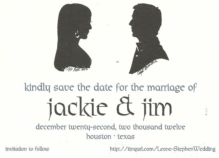 silhouettesbycindi.com Great wedding save the date idea! Save this one for your one!