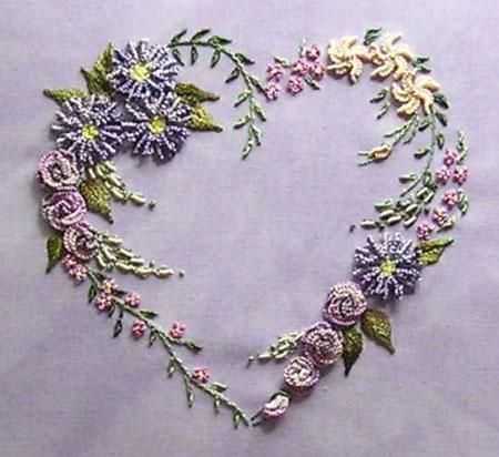 """Flower Heart by Delma Moore.    Fabric size: 32cm x 32cm/12.59"""" x 12.59"""".  Design size: 13cm x 12cm/5.11"""" x 4.72"""".    Kit's Contents:   •printed hand dyed trigger cloth  •thread  •needles  •colour photograph   •complete instructions  http://www.australianneedlearts.com.au/flower-heart-delma-moore#"""