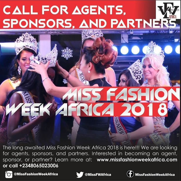 Miss Fashion Week Africa is looking for AgentsSponsors and Partners for the 2018 contest in the various countries of Africa! Visit http://ift.tt/2e4RUrb to fill the form either as an AgentSponsor or Partner!  Miss Fashion Week Africa recherche d'Agents de Sponsors et de Partenaires pour le concours 2018! Visitez http://ift.tt/2e4RUrb pour remplir le formulaire soit comme Un AgentUn Sponsor ou Partenaire!