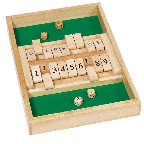 Wooden Toys UK Shut the Box 9er double board traditional strategy dice game - Shut the Box 9er double playing board  traditional strategy dice game 9 flap version, large set two boards in one.A traditional game currently very popular for schools and playgroups.Larger double wooden version of the old favourite. Twice the noise as two teams can play at same time.   It is probably the simplest of dice-throwing and scoring games, wonderfully undemanding yet quite irresistible, and it can be…
