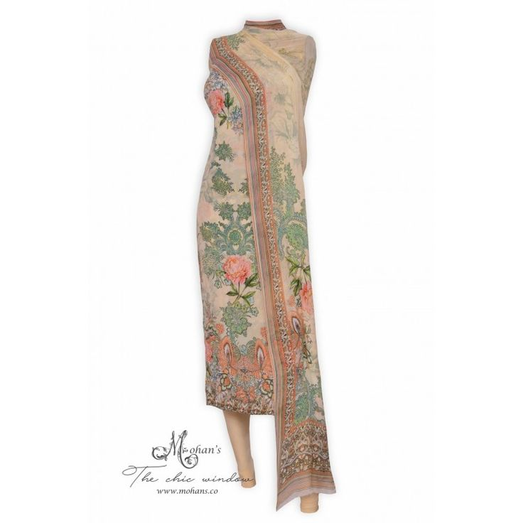 Elegant printed suit accentuated with hand work