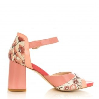 sandale dama din piele naturala 1802 somon cu flori