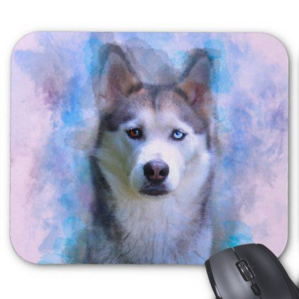 Siberian Husky Dog Water Color Art Painting Mouse Pad - portrait gifts cyo diy personalize custom