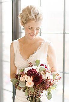 A Fall Bouquet of White Roses and Red Zinnias   Wedding Flowers