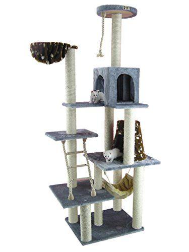 Großer Kratzbaum AC7802S ca. 2 Meter hoch mit Katzenhaus, Liegemulde und Katzenleiter in Farbe Grau Armarkat http://www.amazon.de/dp/B001MJJ01S/?m=AMWB9IWQTFGZU