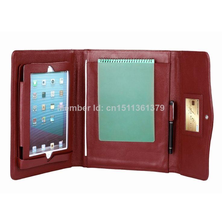 Genuine Leather Triple Folding Portfolio for iPad Case Red $89.99